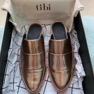 Tibi Rose Gold Open Back Loafers